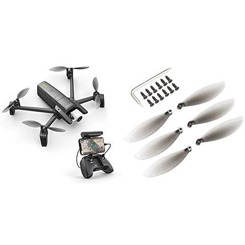 Parrot Anafi Base Drone con Videocamera HDR 4K/foto da 21 MP con Gimbal con Inclinazione a 180, Nero & ANAFI Kit di 8 pale per Eliche, Nero