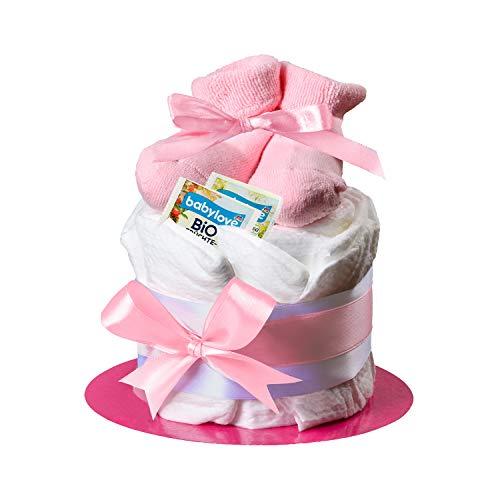 Windeltorte mit Babysocken von Homery - wählbar für Jungen und Mädchen mit Glückwunschkarte und Babytee - Handmade fair hergestellt (Rosa - Mädchen, Törtchen)