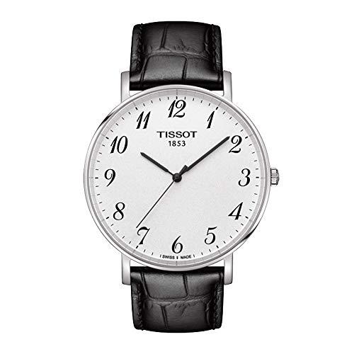 Tissot Herren Analog Quarz Everytime Large Armbanduhr mit Leder Armband T1096101603200