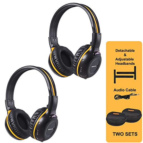 SIMOLIO 2 Pack of IR Wireless Headphones for in-Car TV, DVD, Video Listening, 2 Channel Car Headphones with EVA Cases, Aux Cord, On-Ear Wireless Cars Headphones, Not Work on 2017+ GM's or Pacifica