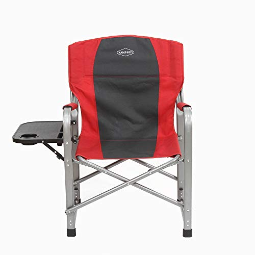 Kamp-Rite Outdoor Camping Tailgating Folding Director's Chair w/Side Table, Red