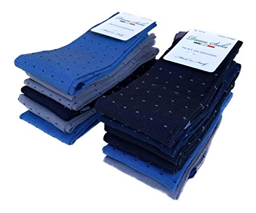 DREAM SOCKS 6 paia calze lunghe da uomo in cotone filo di scozia elasticizzate,calze lunghe molto leggere made in italy rimagliate a mano, disponibili vari assortimenti (39/42, set.puntini)