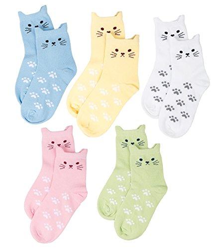 Maiwa - Calzini in cotone, 5 paia, motivo: gatto, senza cuciture, da bambina(bambini piccoli 23-27...