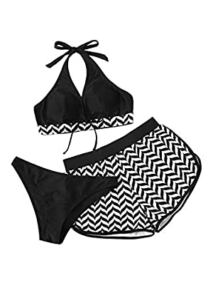 82% Polyester, 18% Spandex, fabric is very stretchy Top: chevron print, halter neck, sleeveless, colorblock, triangle swimsuit Bottom: shorts, low rise, two piece, solid, high cut, bathing suits The swimwear is suitable for swim, beach, vacation, go ...