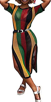 SELECT SIZE TO SEE MORE REVIEWS. Material- Close-skin comfy polyester & fishnet Feature- Crew neck, short sleeves, hollow out floral net coverup, ankle length, rainbow side split dress Design- Chic and in colorful see through striped fishnet makes yo...