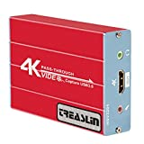 Capture Card USB3.0 1080P60fps Spiel Videoaufzeichnungskarte, unterstützt Windows 7/8/10, PS5,PS4 Nintendo Switch Linux YouTube OBS Twitch, Audioausgang mit 3,5mm Mikrofon, TSV 3204 TreaLin