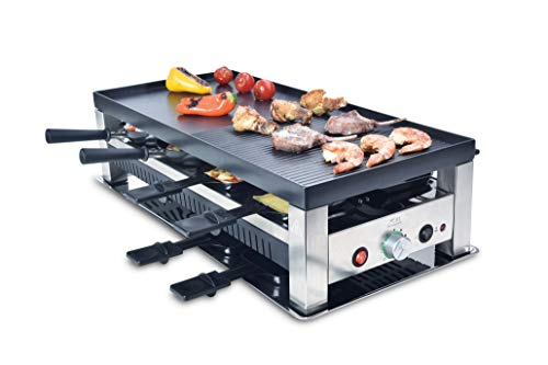 Solis Grill 5 in 1, Raclette/Tischgrill/Wok/Crêpes/Pizza, 8 Personen, Edelstahl, Table Grill 5 in 1 (Typ 790)…