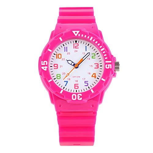 Orologio analogico al quarzo per bambine, impermeabile fino a 5ATM, utile per imparare a leggere...