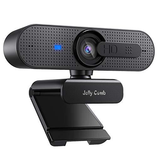Jelly Comb Webcam 1080P HD con copriobiettivo, Microfono Stereo con videocamera Web autofocus per Computer, Skype, Chat Video e Registrazione, Nero