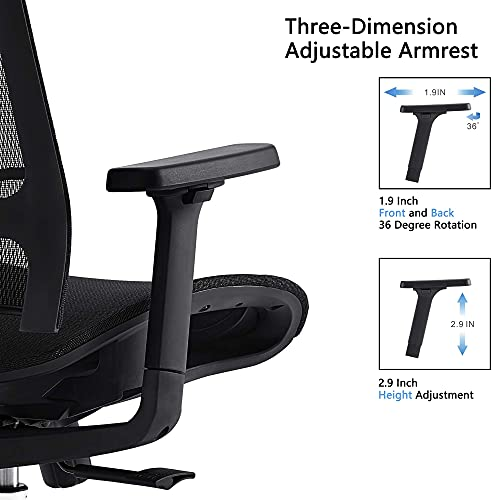 Product Image 5: BILKOH Ergonomic Office Chair, High Back Desk Chair with Mesh Seat - Adjustable Lumbar Support Breathable Mesh Chair Wide Headrest& Reclining Task Chair Adjustable 3D Armrest & Height <a href=