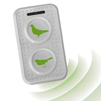 ISOTRONIC® Répulsif à pigeons et oiseaux à Ultrason pour grange, jardin, voiture et garage - tonalités élevées et changement de fréquence contre l'effet d'accoutumance - fonctionne sur batterie