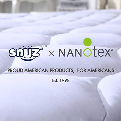 SNUZZZZ Mattress Pad Queen | Mattress Cover Cooling, Breathable, Water Resistant, Hypoallergenic - Quilted, Fitted - Mattress Topper
