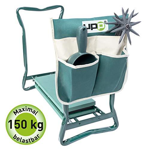 UPP Kniestuhl mit Tasche | Hocker und Kniebank für ergonomsiches Arbeiten im Garten | Rückenschoner & Knieschoner in einem Produkt | Mit praktischer Tasche für Harken, Schüppe uvm.