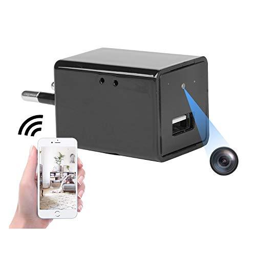 Mini telecamera spia WiFi presa Full HD 1080p caricatore USB telecamera per sorveglianza di sicurezza domestica con vista remota/rilevamento di movimento/registrazione in loop plug-and-play