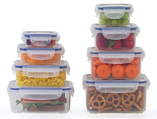 Popit Plastic Food Storage Containers 16 Piece Set, Leak Proof, Kitchen Meal Prep, Microwavable, Freezer and Dishwasher Safe Portion Control, Little Big Box by Popit!