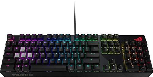 ASU ROG Strix Scope - Teclado mecánico RGB de Gaming con conexión por Cable, interruptores Cherry MX, chasis de Aluminio, iluminación Aura Sync y Juego Adicional de Teclas WASD Plateadas