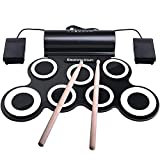 IWORD Electronic Drum Set, Adult Beginner Pro Midi Drum Pad Practice, Roll Up Drum Kit with Headphone Jack Built-in Speaker, Great Holiday Birthday Christmas Gift for Kids Drum Set (White)