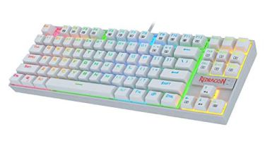 Redragon K552W-RGB 60% Mechanical Gaming Keyboard Compact 87 Key Mechanical Computer Keyboard KUMARA USB Wired Cherry MX Blue Equivalent Switches for Windows PC Gamers (White RGB Backlit)