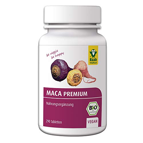 Raab Vitalfood Bio Maca-Tabletten, 290 Stück, Peru, vegan, glutenfrei, mit natürlichen Glucosinolaten, sekundäre Pflanzenstoffe, Wurzel-Pulver, 90 g
