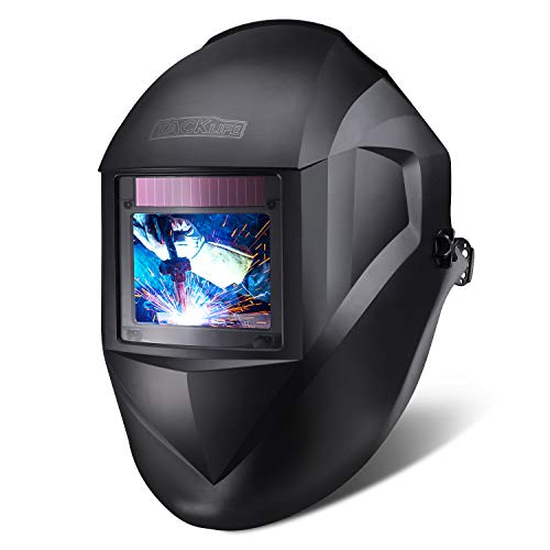 TACKLIFE Professional Welding Helmet Auto Darkening, 3.94'x2.87' Large Viewing Area Welding Mask With Top Optical Clarity 1/1/1/1, 1.15lb Light Welding Hood With 7 Replacement Accessories - PAH03D