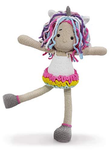 Boneca garota unicórnio de crochet