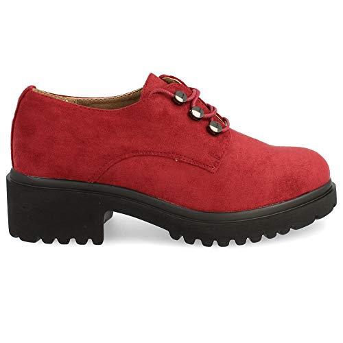 Zapato de Tacon y Plataforma, con Cordones Redondos, Tipo Blucher. Otono Invierno 2019. Talla 38 Burdeos