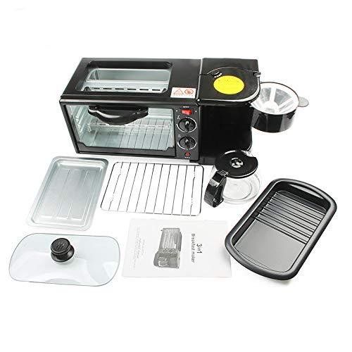 Frühstückscenter: Kompakter 3-in-1, Toaster-Ofen, Elektrische Pfanne, Kaffeemaschine,Black