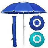 Blissun 7' Portable Beach Umbrella with Sand Anchor, Tilt Pole, Adjustable Height, Carry Bag, Air Vent, Portable Sun Shelter for Beach Patio Garden Outdoor, Blue