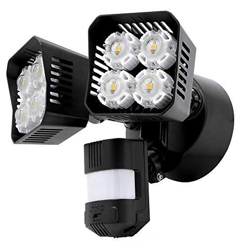 Upgraded SANSI LED Security Motion Sensor Outdoor Lights, 36W (250W Incandescent Equivalent) 3600lm, 5000K Daylight, Dusk to Dawn Waterproof Flood Light, ETL Listed, Black