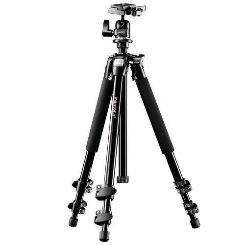 Mantona Basic Scout Fotostativ, Kamerastativ bis 144cm, inkl. robuster Kugelkopf, Wasserwaage, umkehrbare Mittelsäule, ideal für Reisen und Outdoor Fotografie für DSLR Kamera, kompakt leichtes Stativ