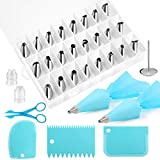 Kincown [NEW UPGRADED]33pcs Cake Decorating Tools Kit,Baking Supplies Set,Piping Tips and Bag Set with 24 Stainless Steel Icing Piping Tips,3 Scrapers,2 Couplers,2 Bags,1 Flower Nail,1 Flower Scissors