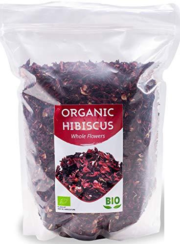 Bio Hibiskusblüten getrocknet   Organic Hibiskustee   Große Blätter für Teemischungen   Premium Qualität   1Kg BIO  aus Ägypten