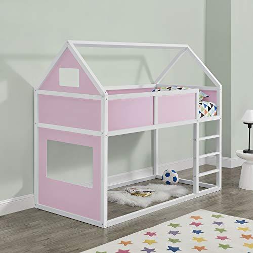 Kinder Hochbett mit Leiter 90x200cm Etagenbett mit Lattenrost Haus-Optik Bettenhaus für Jugendliche Hausbett aus Holz Kinderbett in weiß/rosa