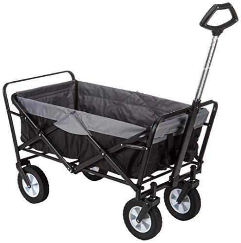 EASYmaxx Bollerwagen faltbar mit Reifen für Vatertag, einkaufen, klappbar, Transportwagen ohne Dach mit Abdeckhaube, verstärkter Achse und Gestell - Tragkraft: 80KG