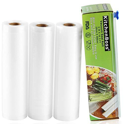 KitchenBoss Sacchetti Sottovuoto per Alimenti, 3 Rotoli 20x500cm Totale15M, (Non più forbici) Rotoli Sacchetti goffrati,per Conservazione Alimenti e Cottura Sous Vide