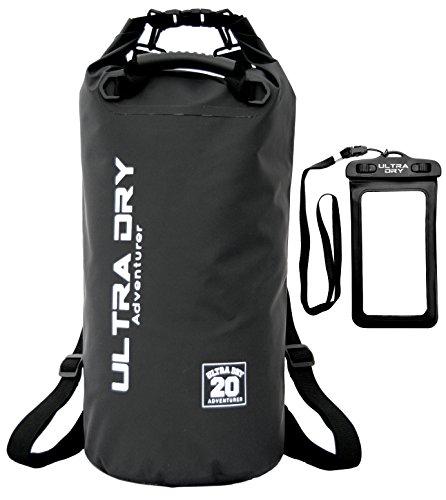 Dry Bag, wasserdichte Tasche, Rucksack, Sack mit Handy-Trockentasche und langem, verstellbarem Schultergurt, ideal für Kajakfahren/Bootfahren/Kanufahren/Rafting/Schwimmen/Camping Black 20 Liter