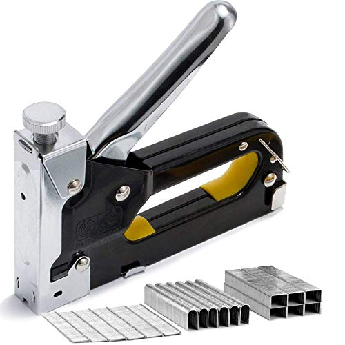 Pinzatrice con 900 Graffette, Bestele 3-in-1 Impugnatura Robusta Cucitrici, ideale per legno/Tappezzeria/ Carpenteria/Tessuto/ Piegatura/Decorazione/ Riparazione Fissatrici Tacker con Chiodi