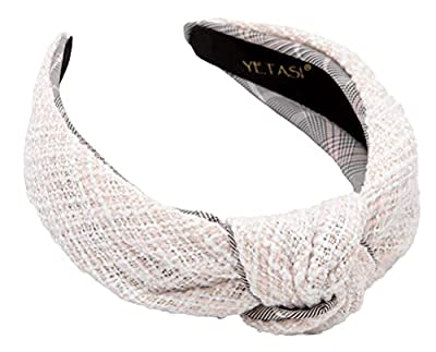 💜 [ TIME SAVER HEAD BAND ] Quickly Turn a Bad Hair Day to an Amazing One with Tweed White Knotted Headband for Women 👸🏽 💜 [ MONEY SAVER HEAD BANDS ] Gorgeous YETASI Tweed Knot Headband is Perfect Hair Styling Accessories to Wear at Home, at Work, Zoo...