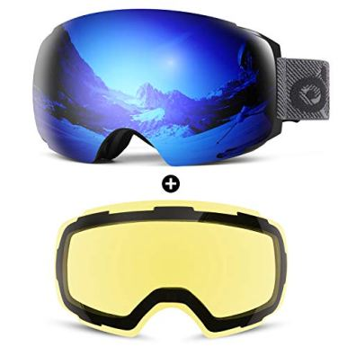 Odoland-Magnetic-Interchangeable-Ski-Goggles-with-2-Lens-Large-Spherical-Frameless-Snow-Goggles-for-Men-Women-OTG-and-UV400-Protection-Black-Frame-Mirror-Blue-and-Yellow-Lens