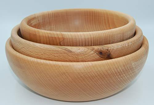 PLATAN ROOM 3er Set Holzschale Holzteller Schüssel aus Buche Holz Salatschüssel Ø 16 cm 18 cm 20...