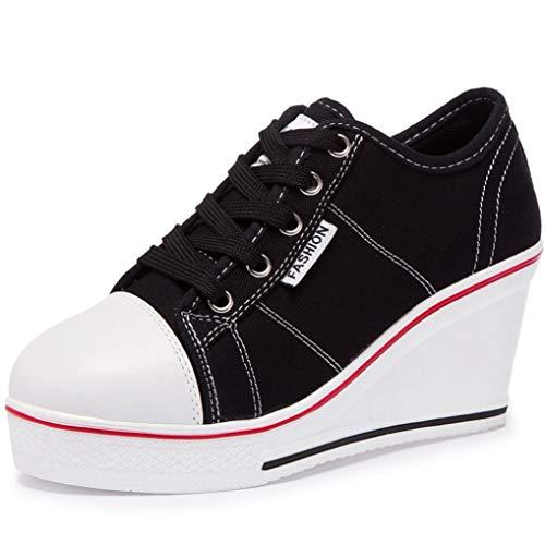 Plataforma De Mujer Zapatos Vulcanizados Zapatillas De Lona Transpirables Moda Casual Cuña Tacones Altos Color Caramelo Estudiantes Alpargatas Altas