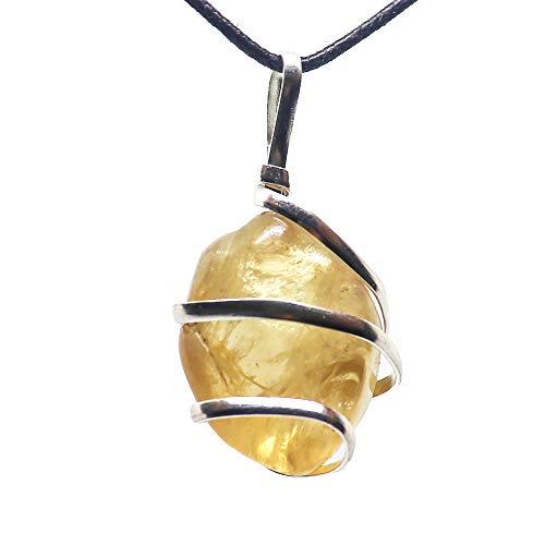 Citrine Gemstone Pendant Necklace - Natural Crystal Healing...