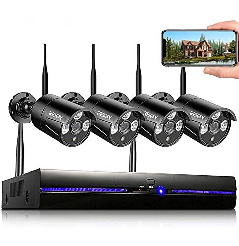 REIGY Kit de cámaras de vigilancia Wifi para exteriores de 3MP con grabación de audio, sistema de seguridad inalámbrico NVR de 8 canales + cámara 4x 1296P, cámara de vigilancia inalámbrica impermeable con visión nocturna Sanze HDD