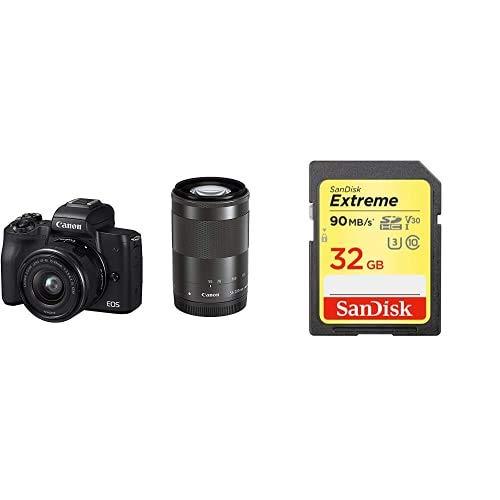 Canon キヤノン ミラーレス一眼カメラ EOS Kiss M(ブラック)・ダブルズームキット EOSKISSMBK-WZK-A + Sandisk SDカードセット