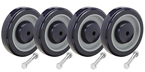 Shopping Cart Wheel Replacement Kit | 5' Diameter | Including 5/16' Axle Bolts: Set of 4