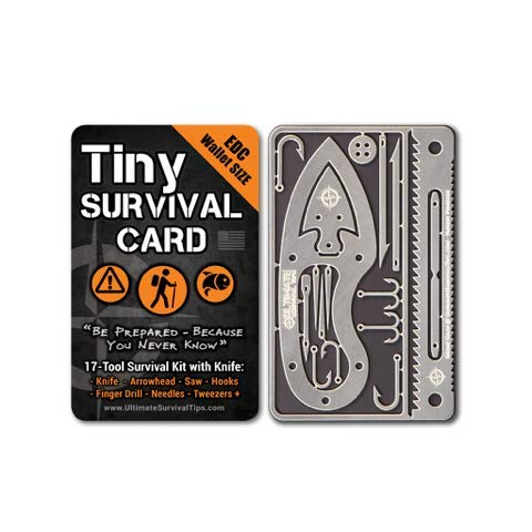 Tiny Survival Card - Made in USA: A 17 Tool Survival Kit + Knife...