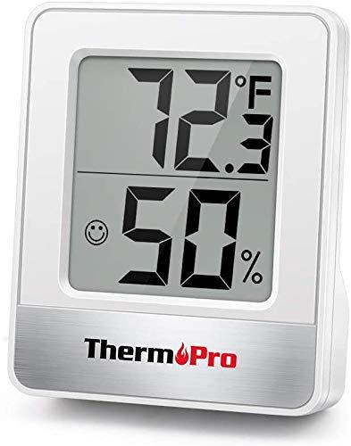 ThermoPro TP49 digitales Mini Thermo-Hygrometer Innen Thermometer Hygrometer Temperatur und Luftfeuchtigkeitmessgerät mit Raumklima-Indikator für Raumklimakontrolle, weiß