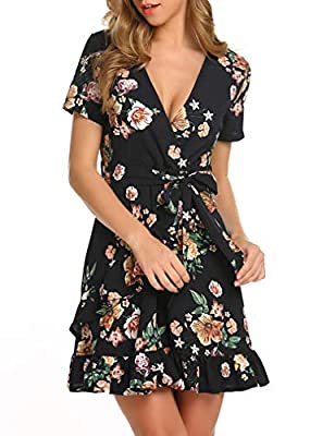 Featrues:short sleeve,faux wrap v neck,floral print,short dress,ruffles,belt Faux wrap v neckline, ruffles decor, printed belt, add more elegant for summer. Floral short sleeve dress, suitable for summer,party,cocktail,daily wear,etc. ATTENTION: Acco...