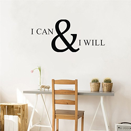 Inspirational Quote I CAN & I Will Wall Decal, Motivational Saying Positive Attitude Vinyl Wall Sticker for Classroom Bedroom Gym Room Decor,Inspiring Lettering Stickers Home Wall Decorations,Black