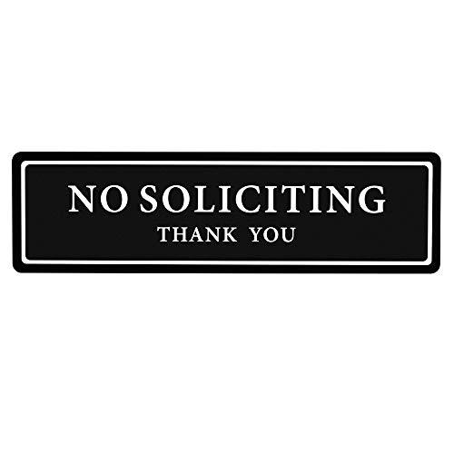 Premium No Soliciting Thank You Sign for House/Office, Self Adhesive Modern Design Door Sign 2.35' x 8.25'Home Dcor Accessories Door Or Wall, White Big Letters on Black Plate